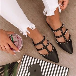 Shoes - Tell me about it STUD✨ Flat Studded Strap Mules